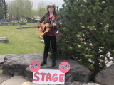 """Jacquie Drew: hamming it up on  the """"Coca-Cola"""" stage."""