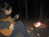 Jacquie Drew: Fireside playing while camping