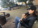 Jacquie Drew playing fireside